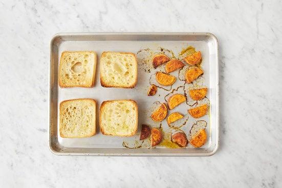 Toast the rolls & finish the sweet potato:
