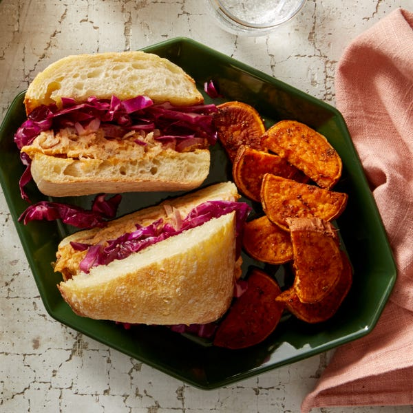 Spicy Smoked Trout Sandwiches with Roasted Sweet Potato