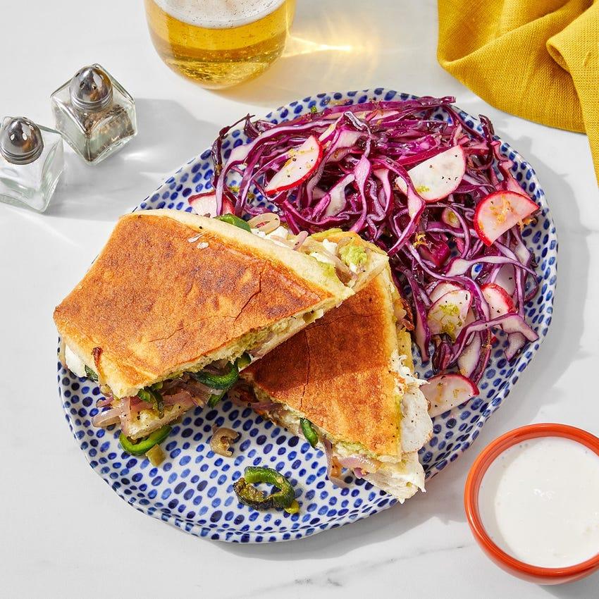 Guacamole & Poblano Tortas with Cabbage-Radish Slaw