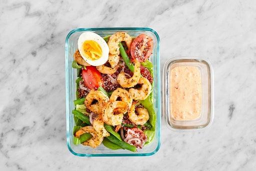 Assemble & Store the Seared Shrimp & Quinoa Salad