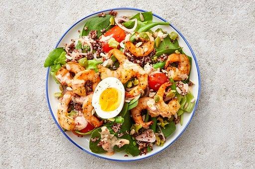 Finish & Serve the Seared Shrimp & Quinoa Salad