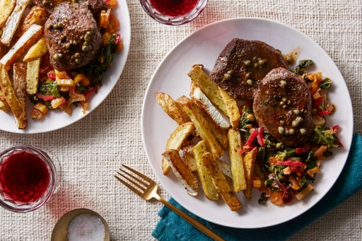 Beef Medallions & Brown Butter Caper Sauce with Italian-Spiced Potatoes & Turnip