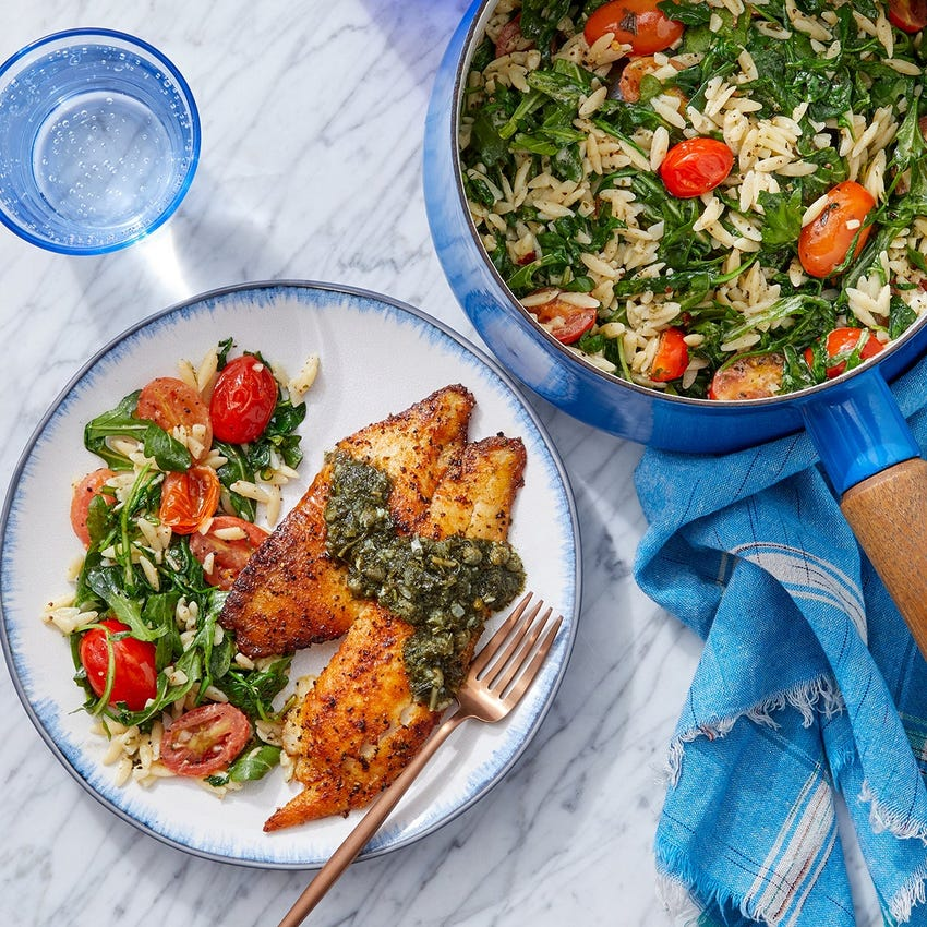 Salsa Verde Tilapia with Arugula, Tomatoes & Orzo Pasta