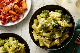 Basil Pesto Pasta & Broccoli with Roasted Carrots