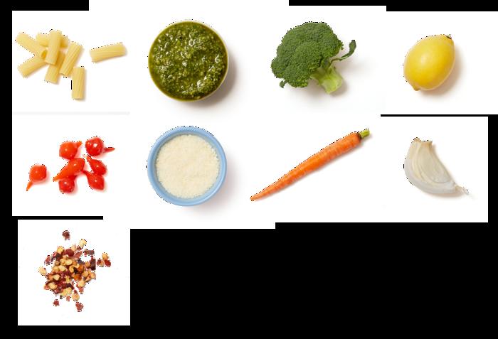 Basil Pesto & Broccoli Pasta with Roasted Carrots