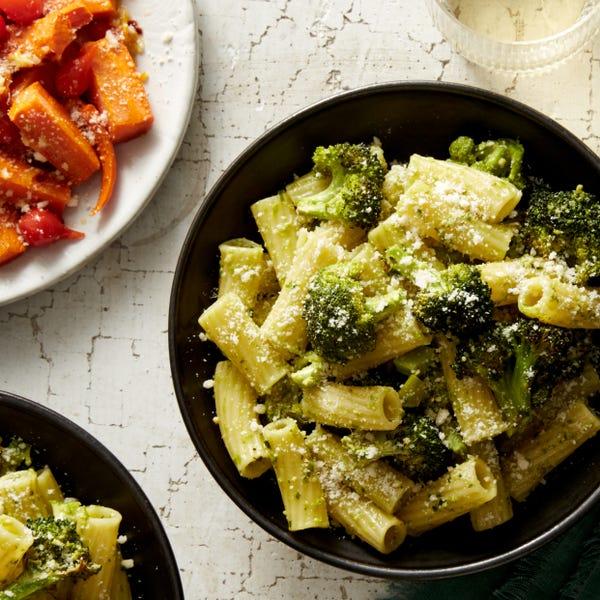 Basil Pesto Pasta & Broccoli with Roasted Carrots