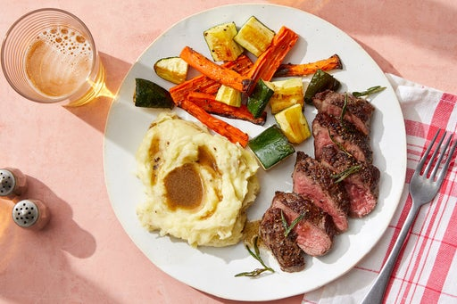 Seared Steaks & Fried Rosemary with Mashed Potatoes & Sherry-Butter Pan Sauce