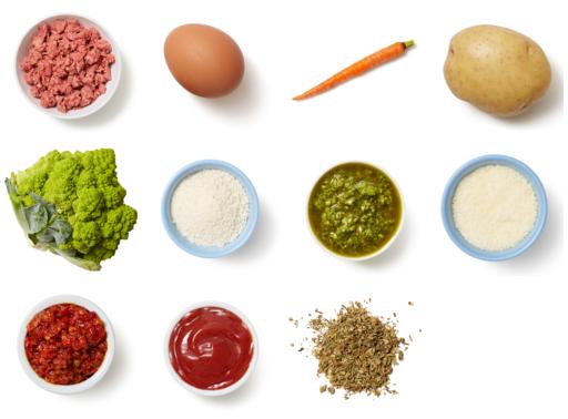 Italian Meatloaf & Cauliflower with Salsa Verde Potatoes & Roasted Carrots