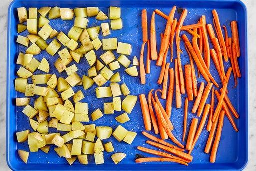 Roast the potatoes & carrots