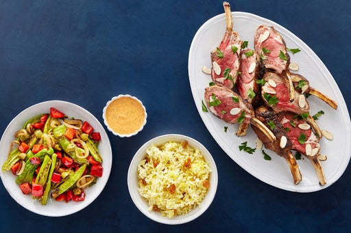 Spanish Lamb & Saffron Rice with Shishito Peppers & Romesco Mayo