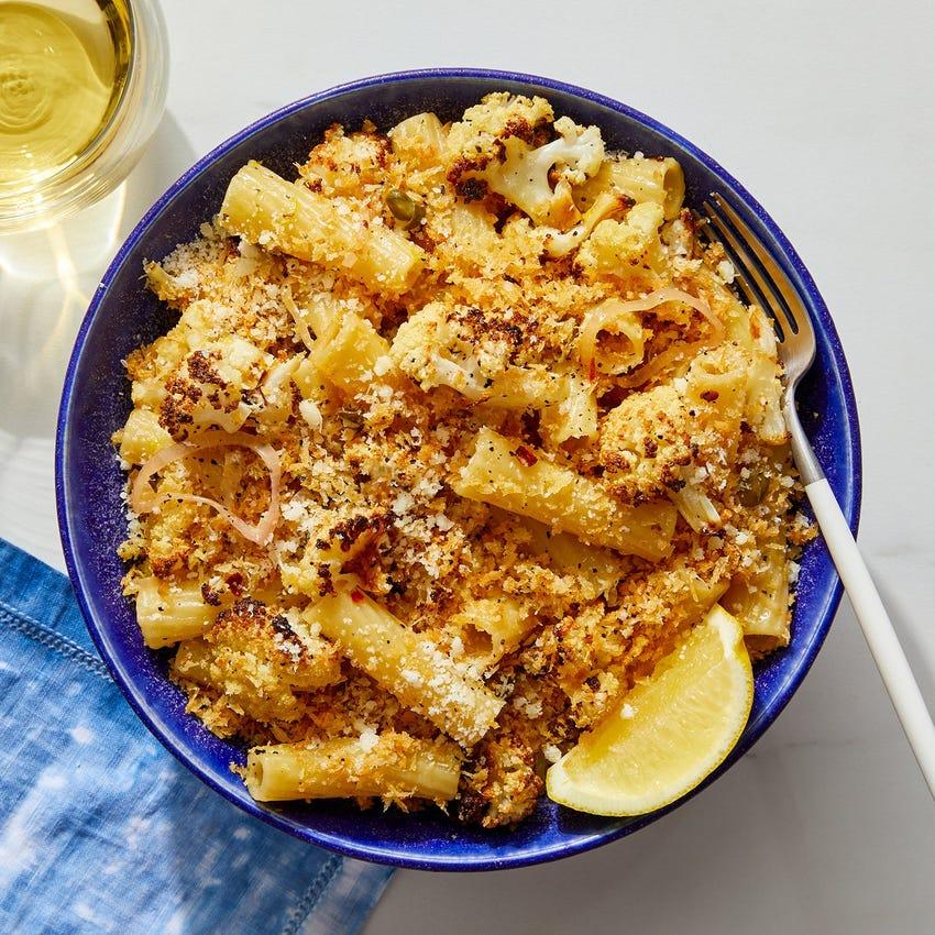 Roasted Cauliflower & Lemon Pasta with Garlic Breadcrumbs