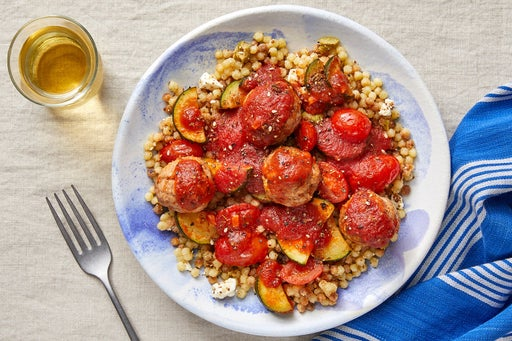 Harissa Turkey Meatballs & Tomato Sauce with Fregola Sarda Pasta & Zucchini