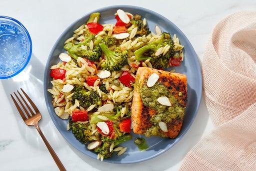 Salmon & Salsa Verde with Roasted Broccoli & Orzo