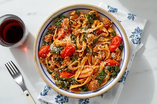 Fresh Basil Fettuccine with Tomatoes & Kale