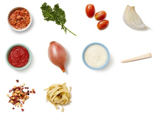 Fresh Basil Fettuccine with Tomatoes & Kale