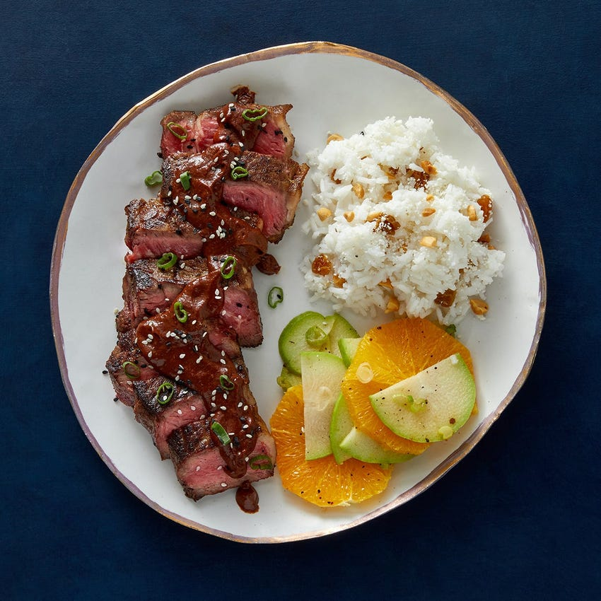 NY Strip Steaks & Mole Sauce with Chayote-Orange Salad & Rice