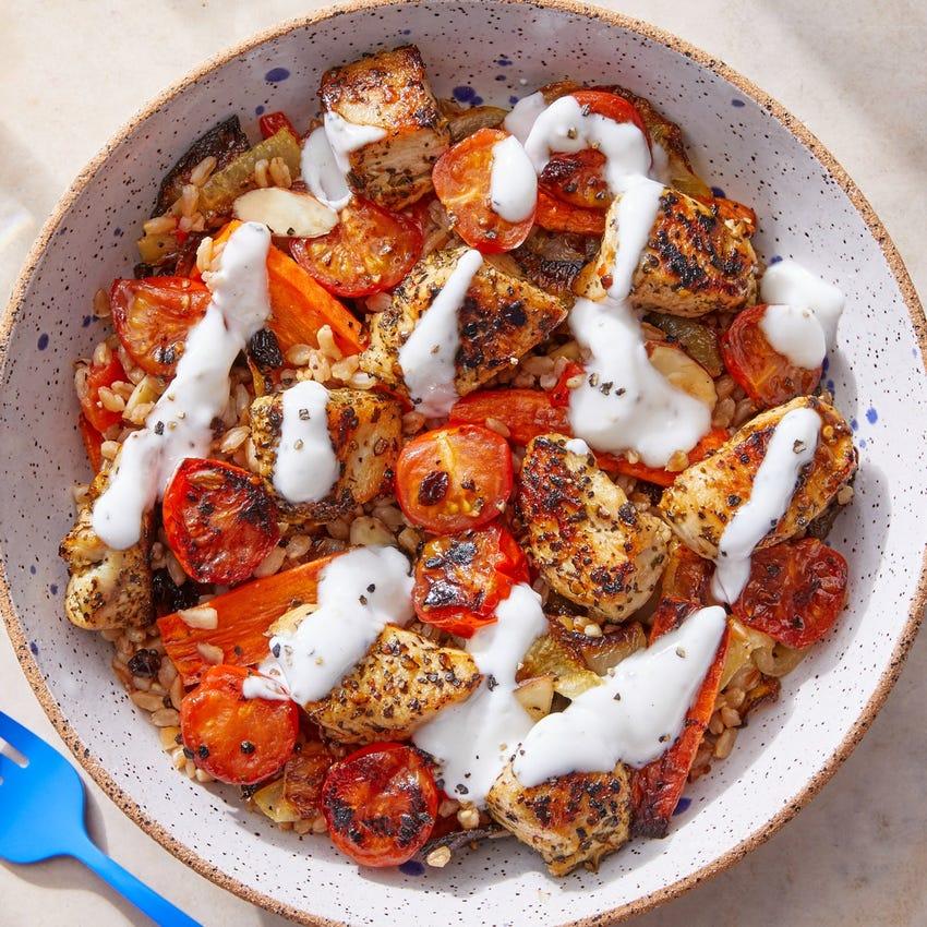 Greek Chicken & Farro with Roasted Vegetables & Lemon-Yogurt Dressing