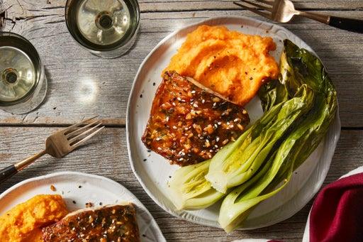 Ginger-Soy Barramundi with Miso Mashed Sweet Potatoes & Roasted Bok Choy