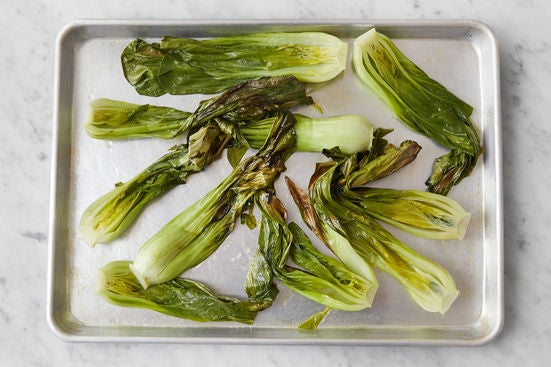 Prepare & roast the bok choy: