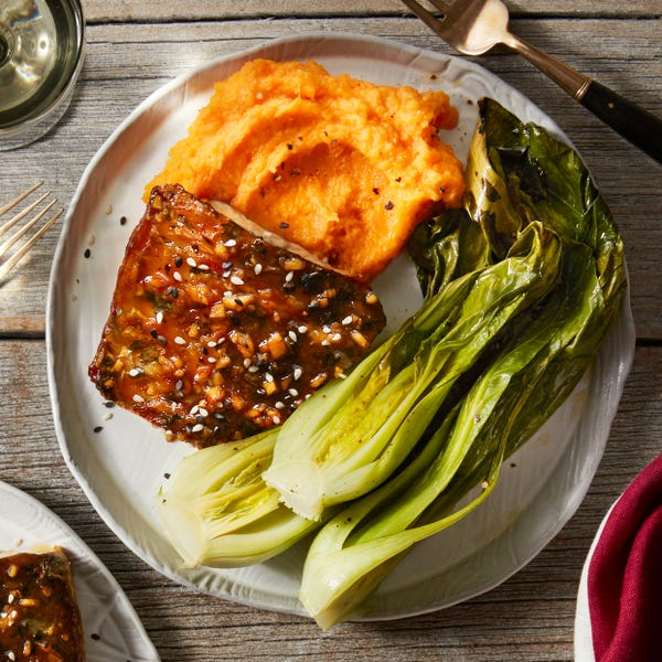 Ginger-Soy Barramundi with Miso Mashed Sweet Potatoes & Roasted Bok Choy