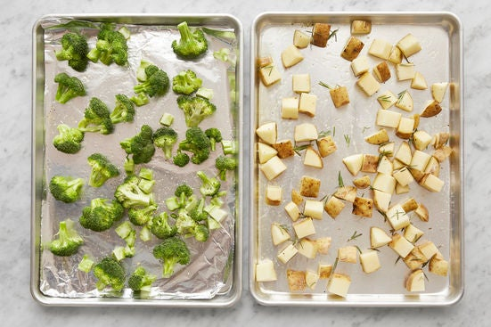 Season the potatoes & broccoli:
