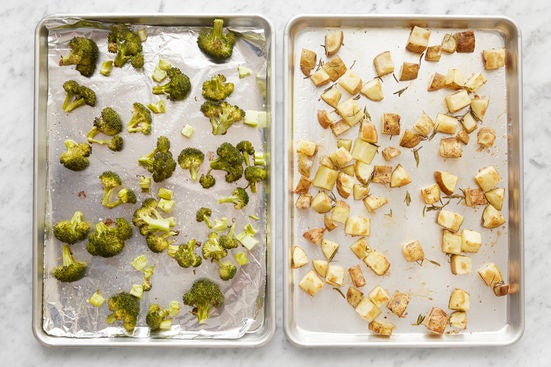 Season & roast the vegetables: