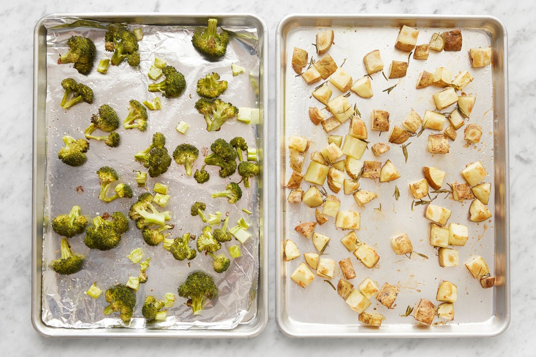 Roast the potatoes & broccoli: