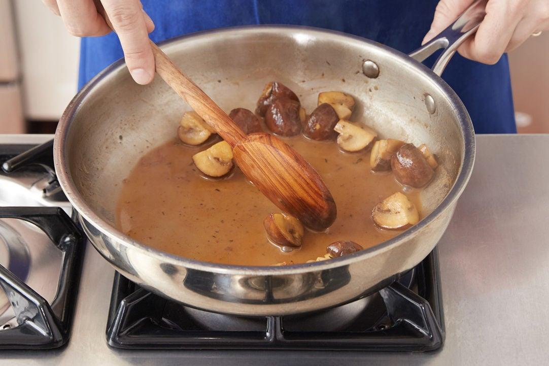 Make the mushroom pan sauce: