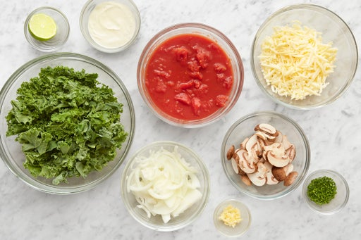 Prepare the ingredients & make the lime sour cream: