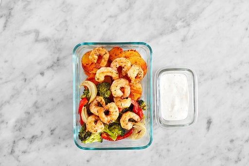 Assemble & Store the Creamy Lemon Shrimp