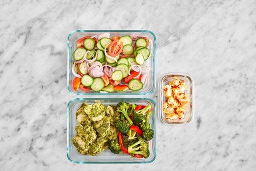 Assemble & Store the Pesto Chicken & Veggie Pitas