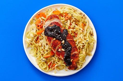 Finish & Serve the Togarashi Chicken & Noodles