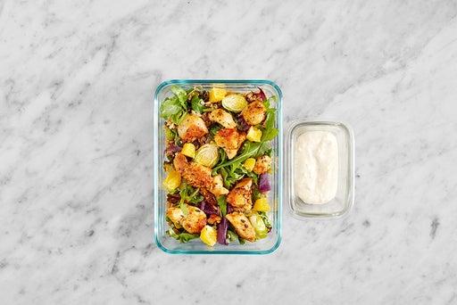 Assemble & Store the Pan-Seared Chicken & Farro Salad