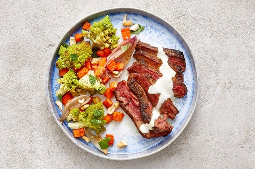 Finish & Serve the Shawarma Steaks & Roasted Vegetables