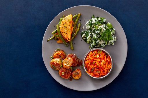 Miso Butter Scallops with Spinach Rice, Roasted Vegetables & Sesame-Marinated Carrots