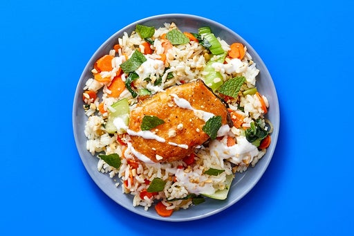Finish & Serve the Mango Salmon & Veggie Rice