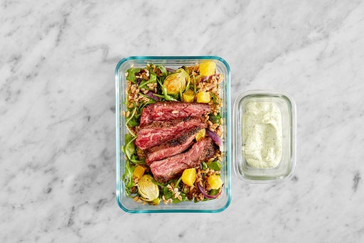 Assemble & Store the Oregano Steak & Farro
