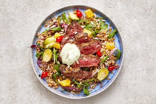 Finish & Serve the Oregano Steak & Farro