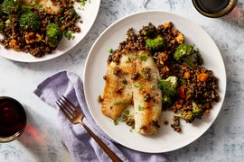 Tilapia & Black Lentil Salad with Lemon Pan Sauce