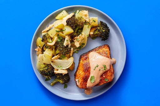 Finish & Serve the Spiced Salmon & Roasted Vegetables