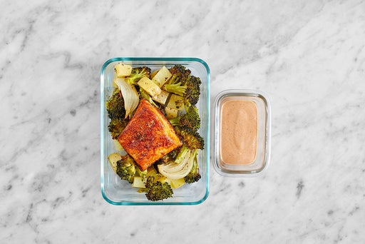 Assemble & Store the Spiced Salmon & Roasted Vegetables