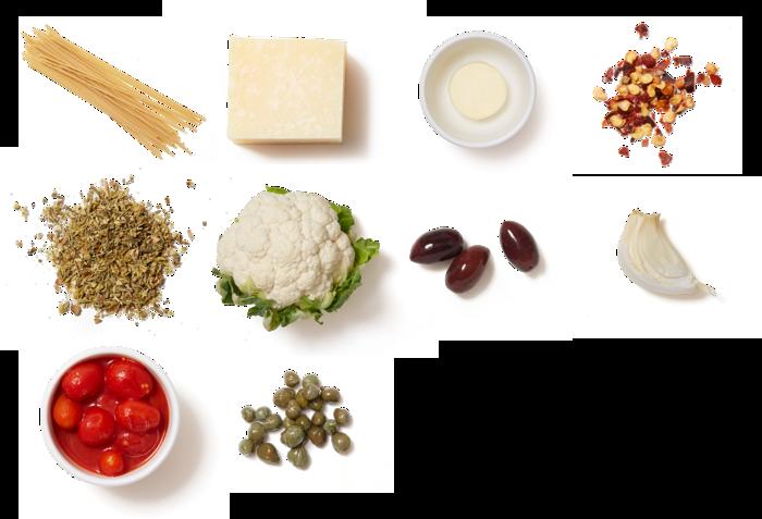 Bucatini Pasta & Datterini Tomato Sauce with Roasted Cauliflower