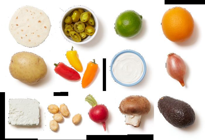 Mushroom & Potato Tacos with Avocado & Cara Cara Orange Salad