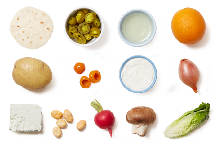 Mushroom & Potato Tacos with Romaine & Orange Salad