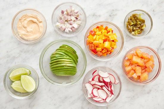 Prepare the remaining ingredients & season the sour cream: