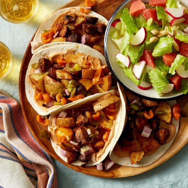 Mushroom & Potato Tacos with Romaine & Orange Salad