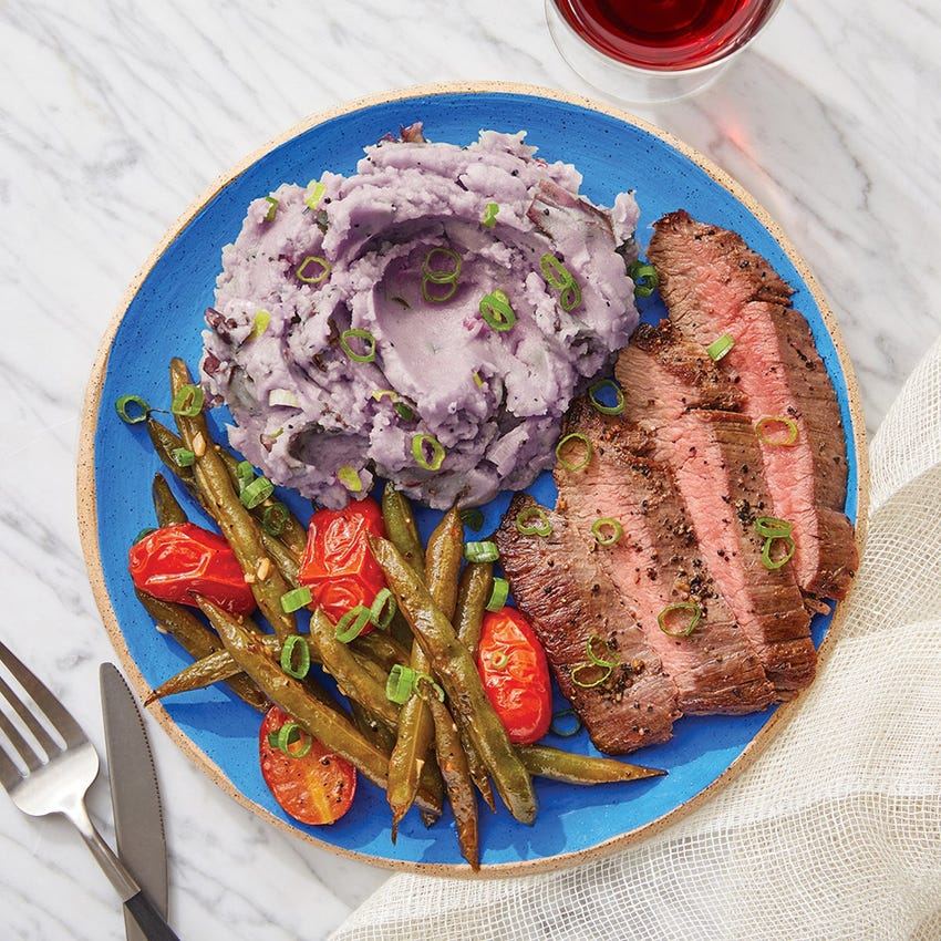 Steak & Mashed Purple Potatoes with Sautéed Green Beans & Tomatoes