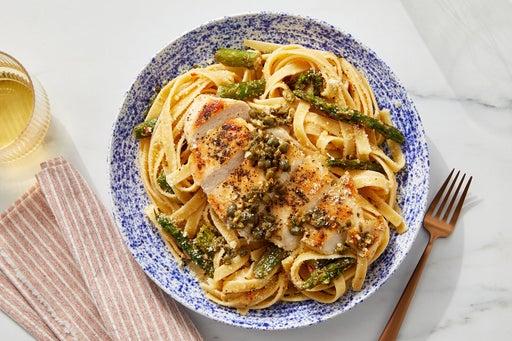 Garlic-Caper Chicken with Calabrian Asparagus & Fettuccine