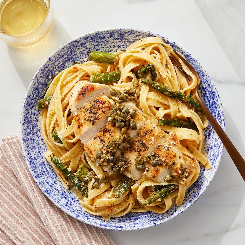 Garlic-Caper Chicken with Calabrian Asparagus & Fettuccine