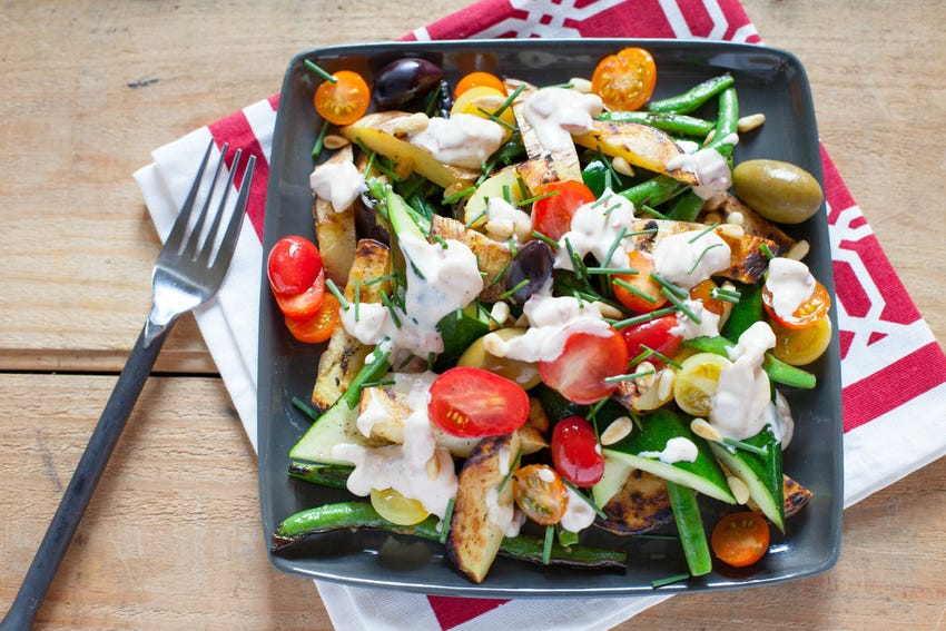 Grilled Vegetables with Olives, Tomatoes  & Romesco Sauce